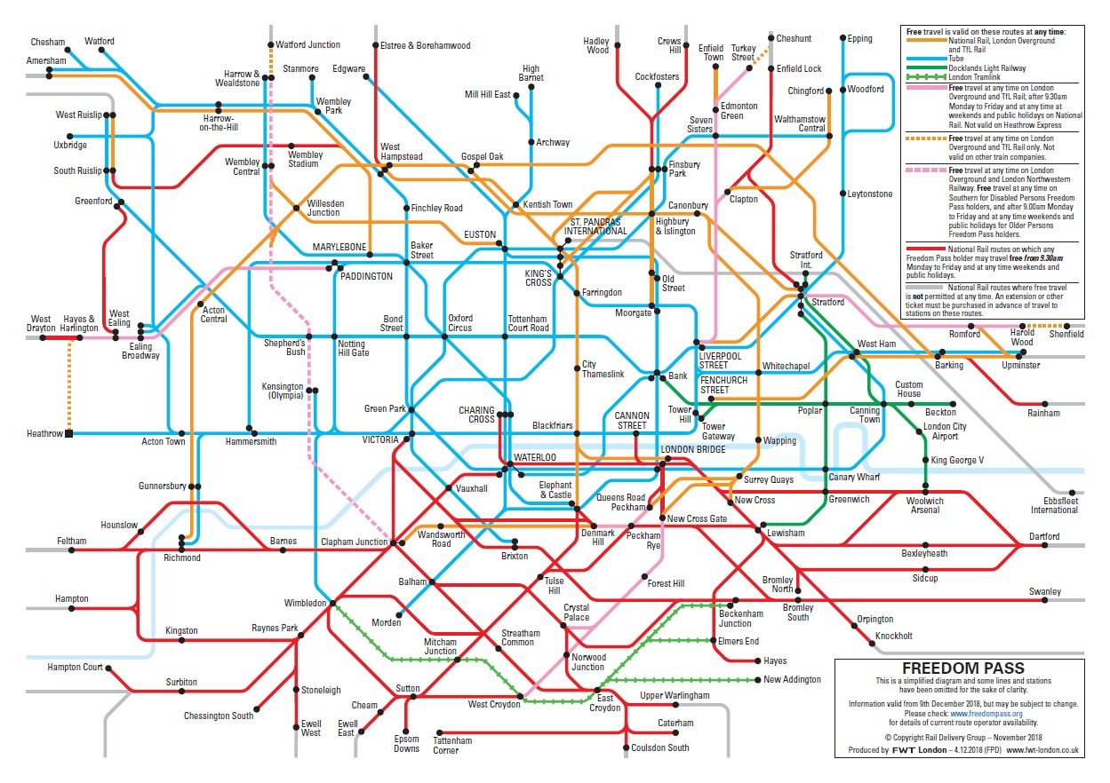 60 Oyster Card Map Freedom Pass travel map | London Councils