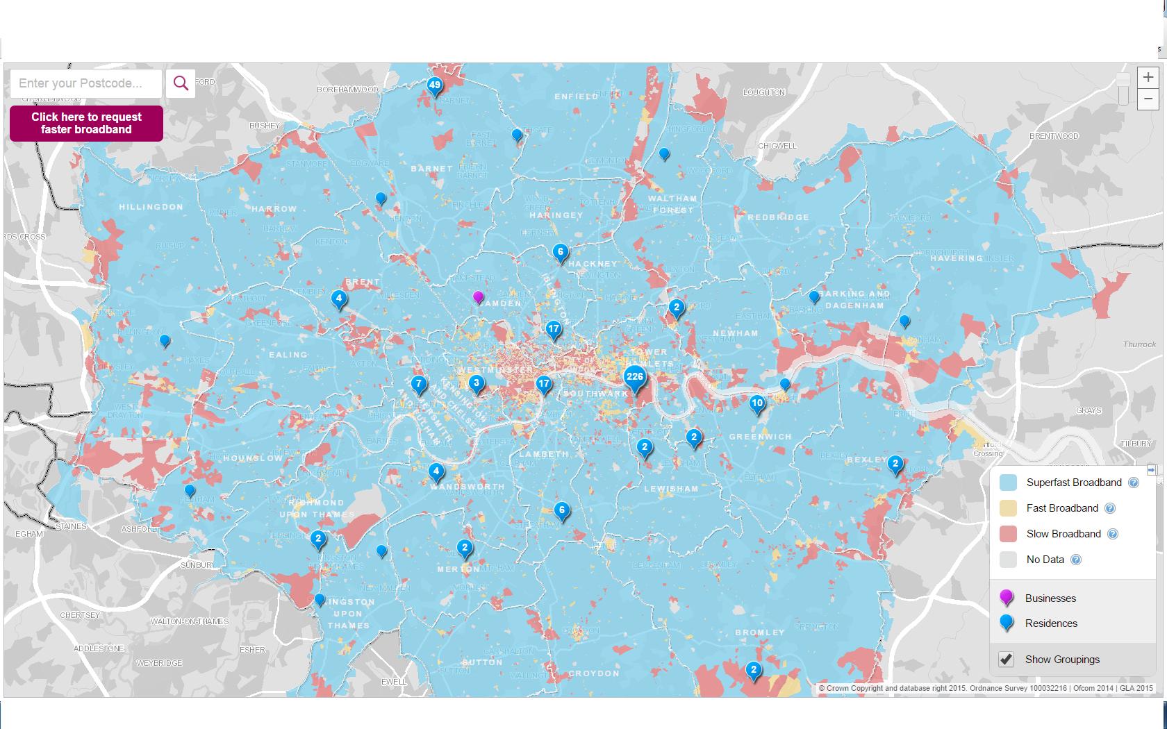 Digital Connectivity London Councils - Us broadband map