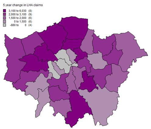 Figure 5 5 year change in LHA claims 2009-2014