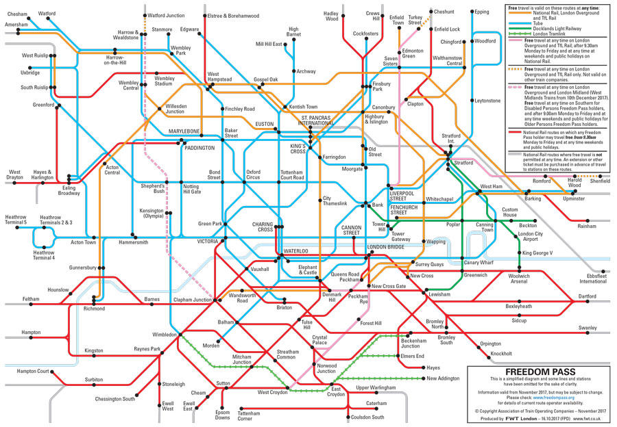London Day Travel Card Zones