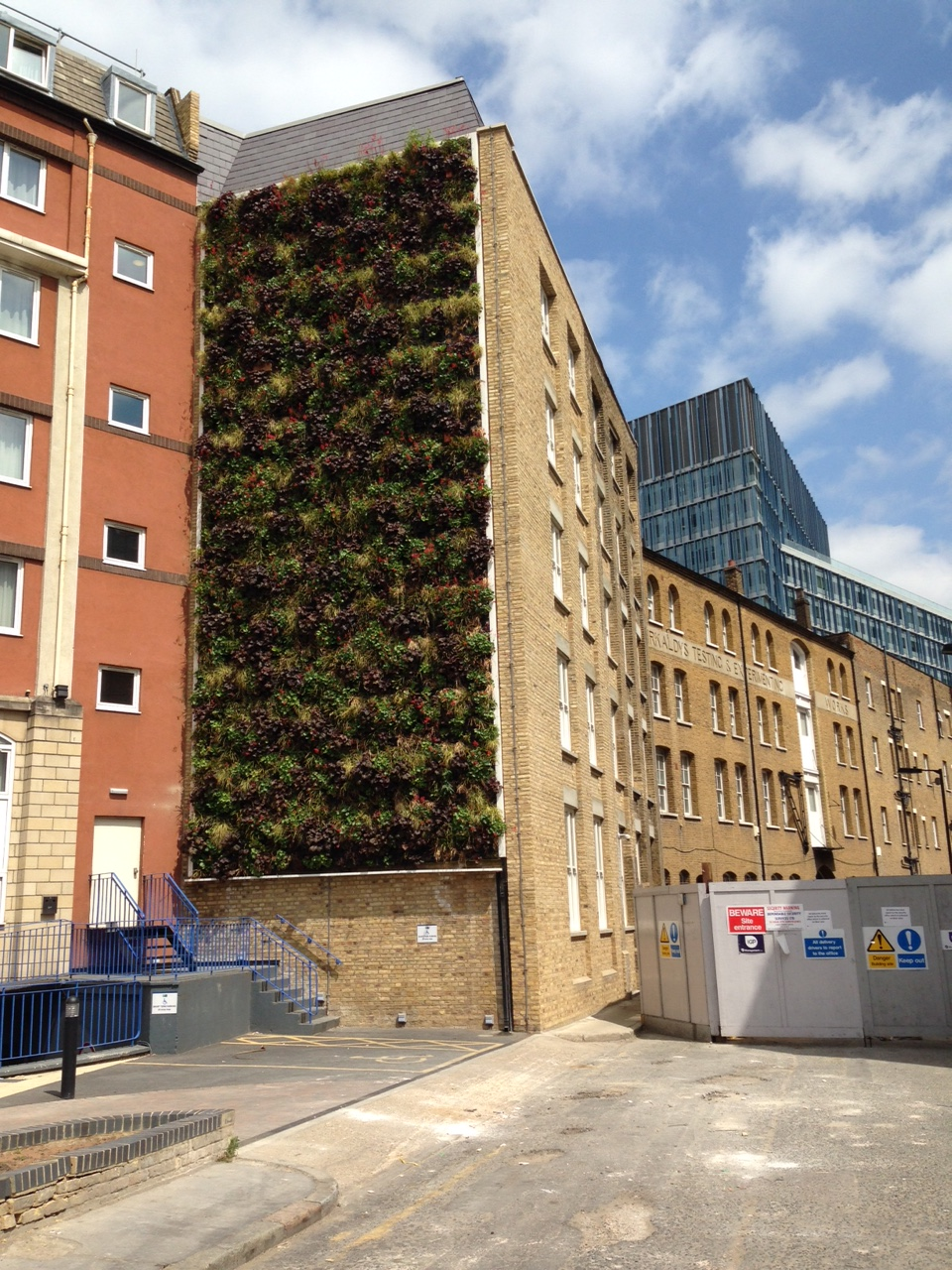 Example of a green wall on the side of an office building.