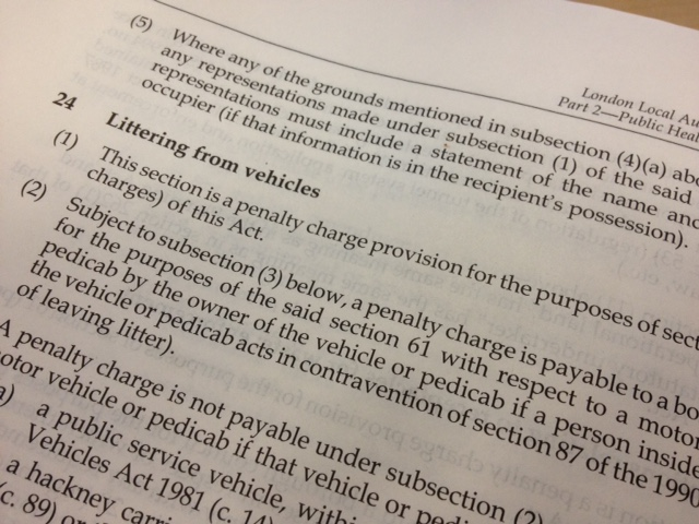 Photo showing text from the London Local Authorities Act 2007