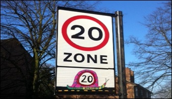 Twenty's Plenty for Us sign in the Royal Borough of Greenwich