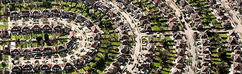 An aerial view of suburban housing