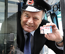 Tony Blackburn at the Freedom Pass Launch, photo by Jo Meiszkowski