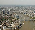 arial view of the river thames