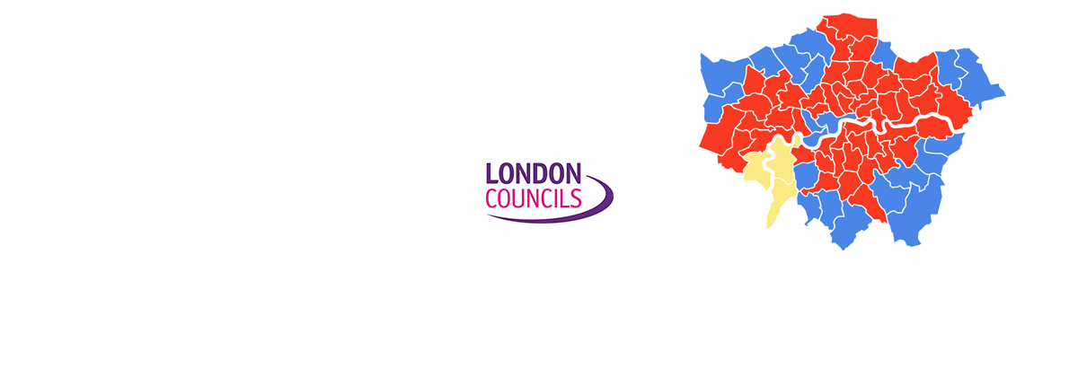 London Councils logo and London map with election results by colour