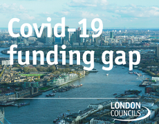 London skyline with Covid 19 funding gap text