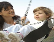mother and child on swing