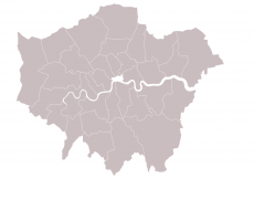 Grey map of London