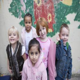 Five young schoolchildren