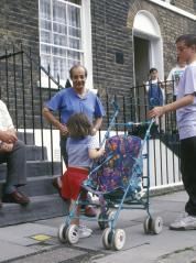 families on street